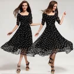 women s long polka dot casual chiffon rockabilly