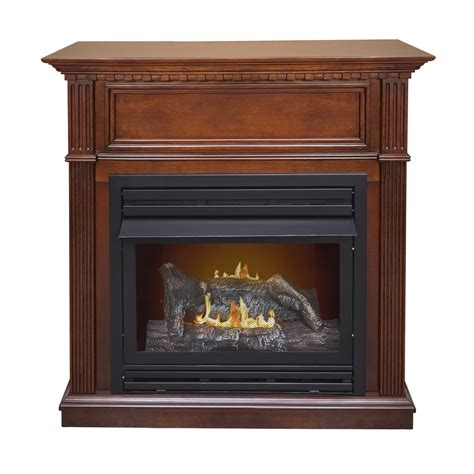 Lowes Corner Fireplace by Shop Pleasant Hearth 42 In Dual Burner Vent Free Cherry