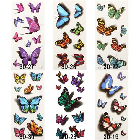 Sticker Stiker Tato Butterflytemporary 1 popular butterfly buy cheap butterfly lots from china butterfly suppliers on