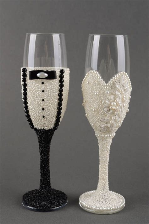 Wedding Gift Wine Glasses by Madeheart Gt Handmade Wedding Glasses 2 Pieces Decorative