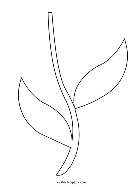 flower leaf coloring page printable flower stem template stencils pinterest