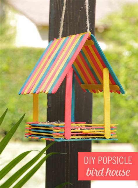 How To Make A Bird Out Of Construction Paper - turn popsicles into an adorable bird house babble