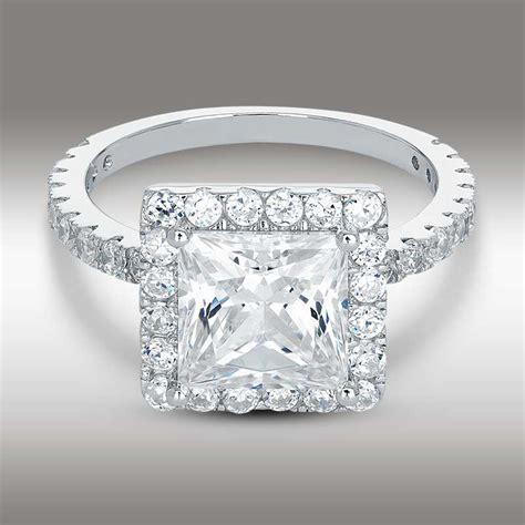 3 50 ct princess cut halo engagement ring 14k white gold