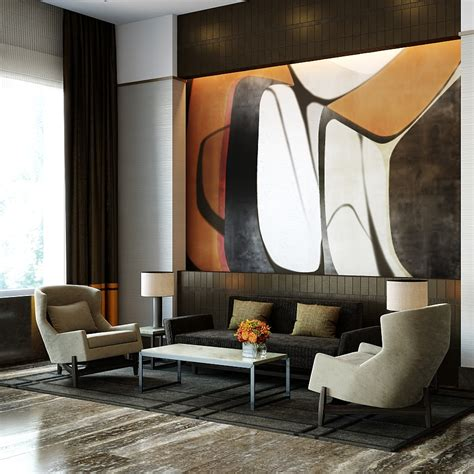 lobby with a blend of materials and modern design