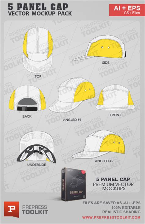 5 panel cap vector mockup template pack