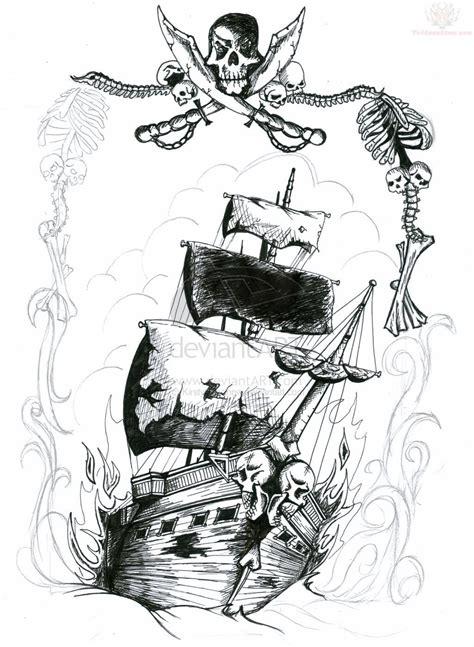 pirate tattoo design right shoulder pirate ship and skull