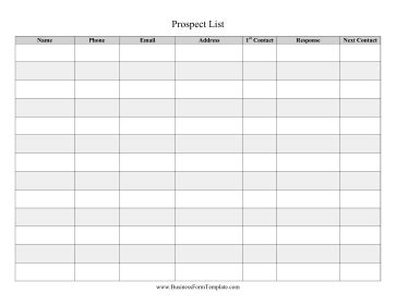 Prospect List Template Prospect List Template