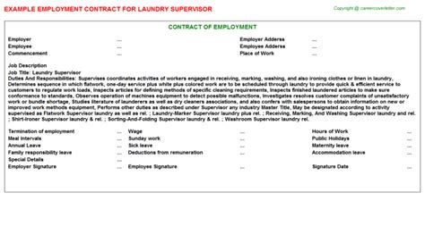 laundry supervisor employment contract sle contracts