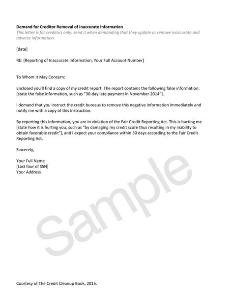 sle letters to remove items from credit report sle letter to creditors to remove from credit report 28