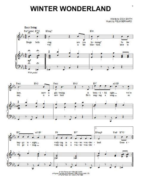 printable lyrics for walking in a winter wonderland winter wonderland sheet music direct