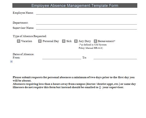 Employee Absence Template absence forms for employees images