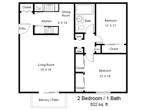 Two Bedroom Floor Plans One Bath | bedroom bath apartment floor plans and d floor plan image
