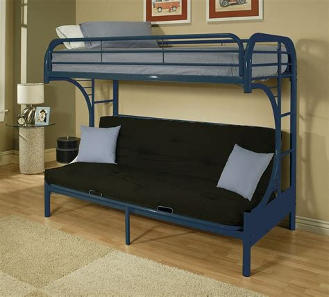 bunk bed with a futon blue metal c shape twin over full futon bunk bed with ladder