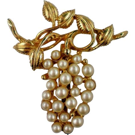 Faux Pearl Pin faux pearl grape cluster pin from manorsfinest on ruby