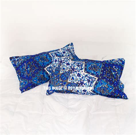 blue bed pillows blue grey multi 3d boho star bed pillow cases set of two