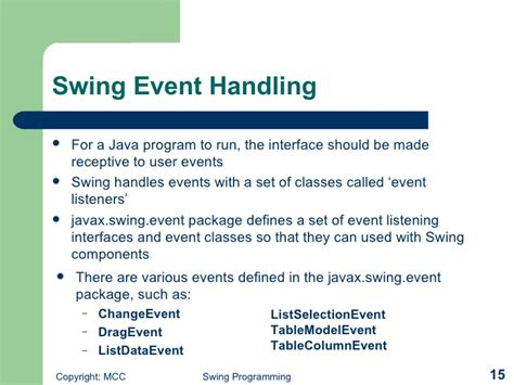 java swing event handling windows programming with swing
