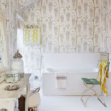 shabby chic bathroom with feature wallpaper easy bathroom transformations housetohome co uk