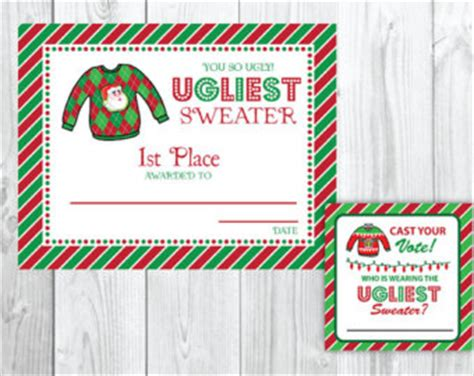 printable ugly christmas sweater awards ugly sweater award etsy