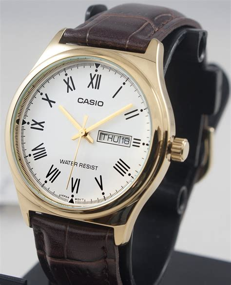 casio mtp v006gl 7b mens analog gold tone brown leather band day great watches