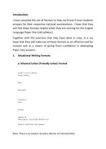 Situational Writing Report Format by Situational Writing Formats Guidenotes N Lvl