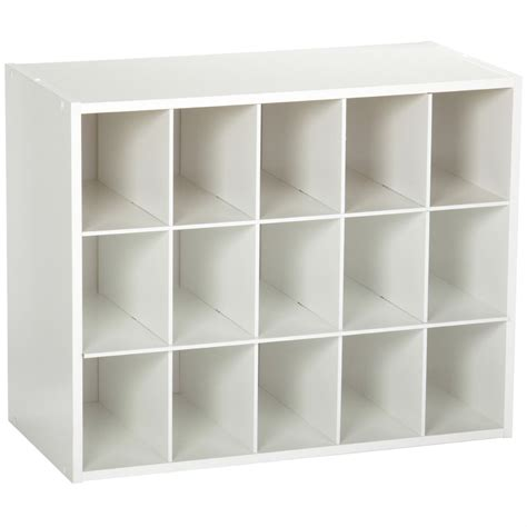 Closetmaid Laminate 15 Cubby Stackable Shoe Rack Organizer Shelves In White