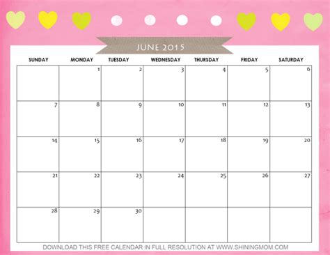 printable calendar girly 10 pretty calendars for june 2015