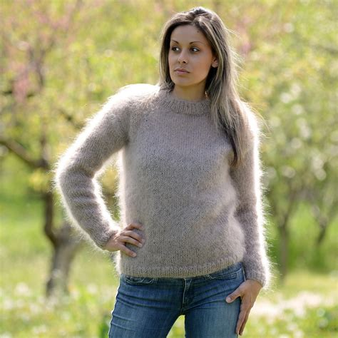 Angora Mohair by Light Beige Knitted Crew Neck Mohair Sweater By