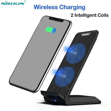 nillkin 10w qi wireless charger for iphone x xr xs max 8 fast wireless charging phone stand for