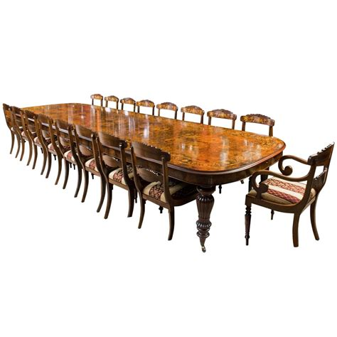 Huge Marquetry Walnut Extending Dining Table 18 Chairs For Marquetry Dining Table