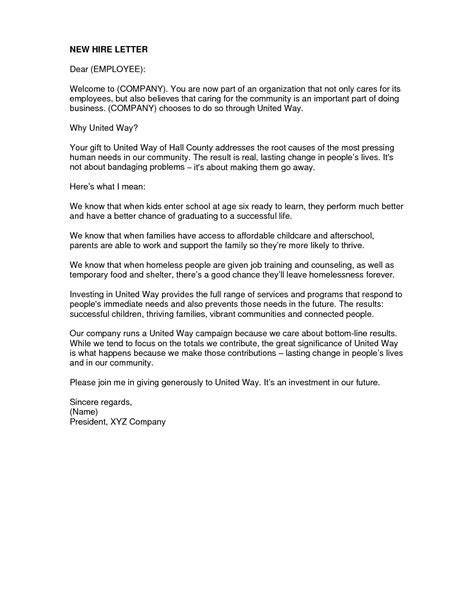 New Hire Letter Template by Sle Welcome Letter For Employee Handbook New Hire