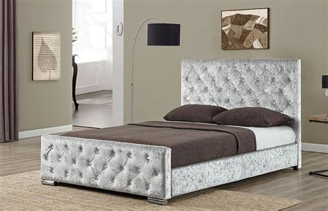 silver bed new berkeley crushed velvet fabric bed