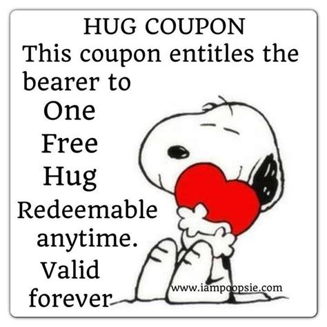printable free hug coupons 25 best ideas about snoopy hug on pinterest snoopy