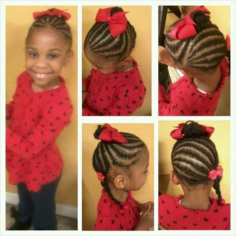 short braid and ponytails designs kids cornrow updo with bun and braided ponytail hair style