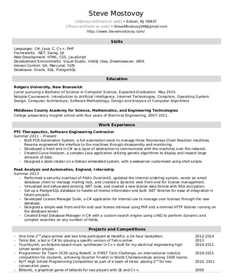 Resume Exles Entry Level Engineering Software Engineer Resume Exle 9 Free Word Pdf