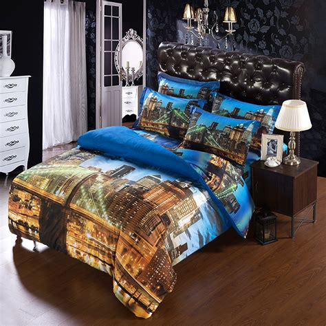 6pcs set modern unique city duvet cover super king size