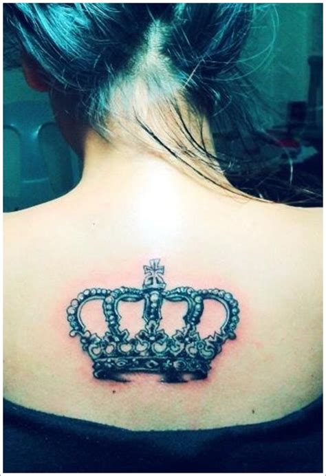 tattoo with the name queen crown tattoo on backl busbones