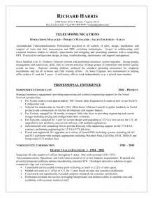 Telecom Project Manager Sle Resume by Telecom Director Network Engineering And Telecommunications Resume Sles Telecommunications