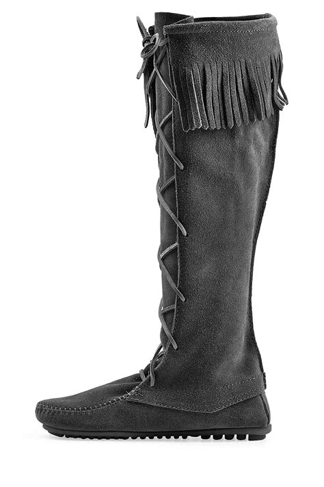 lace up front boots minnetonka fringed suede knee boots with lace up front