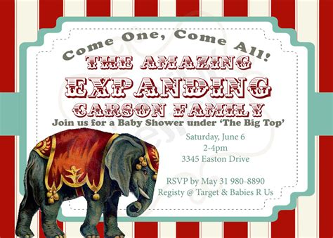 Circus Baby Shower Invitation Templates by Circus Baby Shower Invitations Dolanpedia Invitations