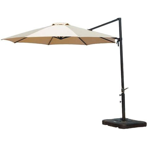 Hanover 11 Ft Cantilever Patio Umbrella In Tan Cantilever Home Depot Patio Umbrella