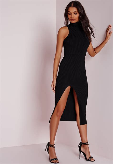 Dress Turtle V Neck missguided ribbed turtle neck midi dress black in black lyst