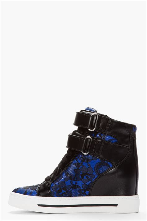 sneaker wedges blue lyst marc by marc royal blue lace sneaker wedge