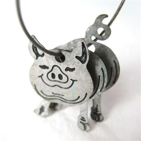 3d Piglet 3d baby piglet pig animal hoop dangle earrings in silver