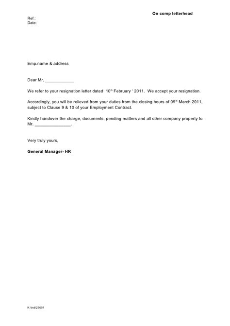Resignation Acceptance Relieving Letter Format Relieving Letter Formats Best Template Collection