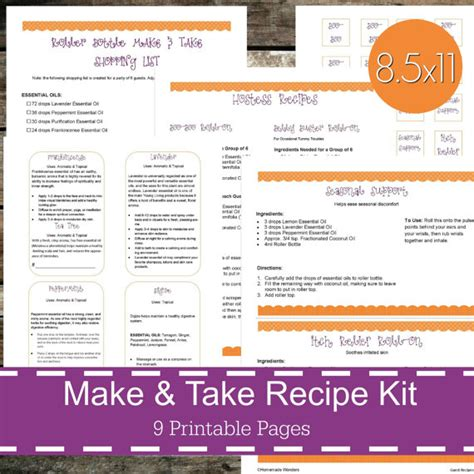 printable young living recipes printable essential oil make take recipe kit essential oil