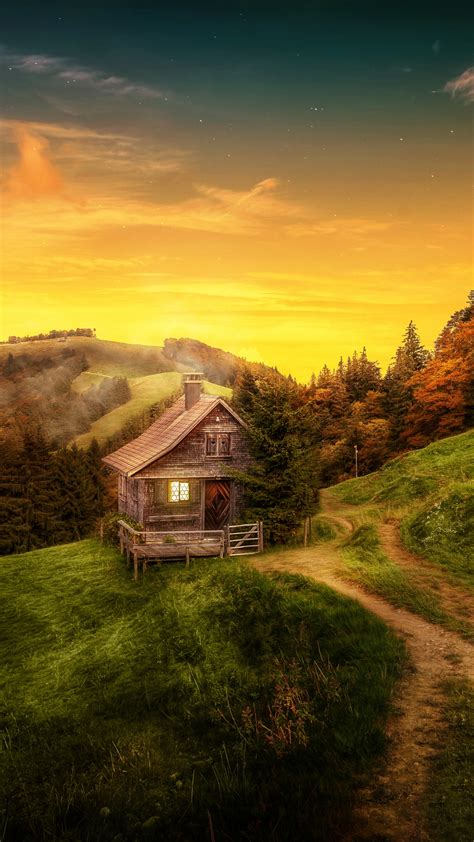 wallpaper house landscape forest switzerland