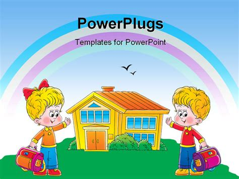 Powerpoint Template Two Children Cartoon Characters Holding School Bags And Pointing To A House Children S Book Powerpoint Template
