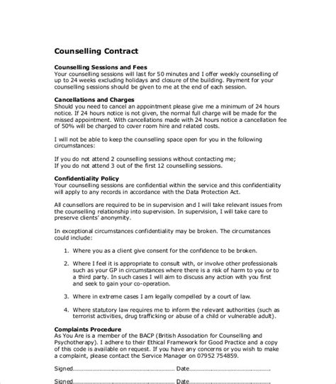 counselling contract examples   examples