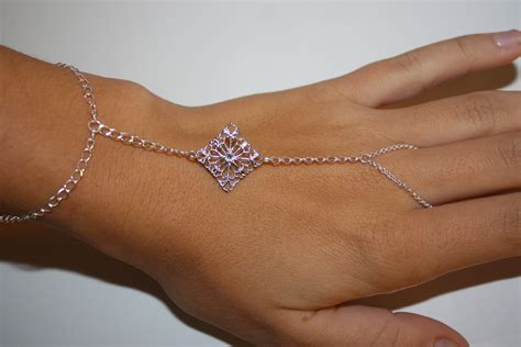 items similar to silver slave bracelet hand chain ring
