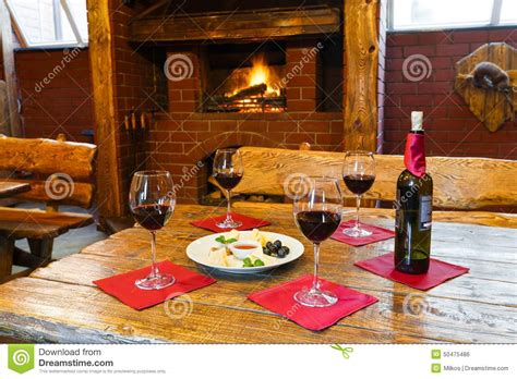 Fireplace Dinner by Dinner Wine Fireplace Royalty Free Stock Image